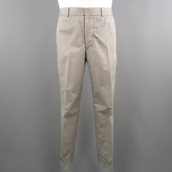 BLACK FLEECE Size 32 BB1 Light Gray Cotton Cuffed Chino Pants