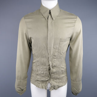 ROBERTO CAVALLI Olive Nailhead Cotton Wrinkled Gathered Waist Long Sleeve Shirt