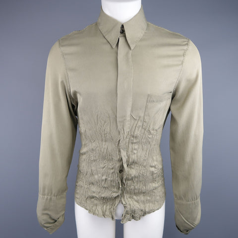 ROBERTO CAVALLI Size L Olive Nailhead Cotton Wrinkled Bottom Long Sleeve Shirt