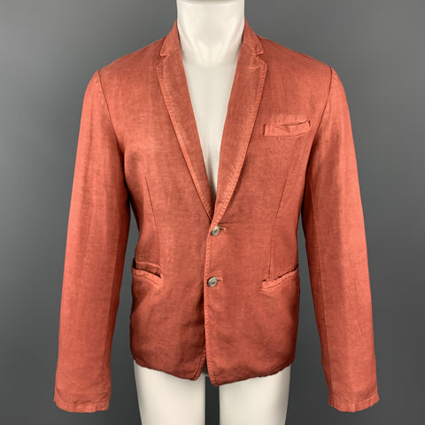 JUST CAVALLI Washed Brick Red Cotton / Linen Notch Lapel Sport Coat