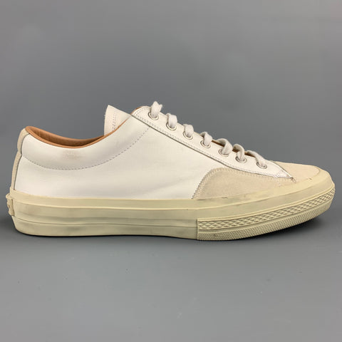 DRIES VAN NOTEN Size 10 White Mixed Materials Leather Lace Up Sneakers