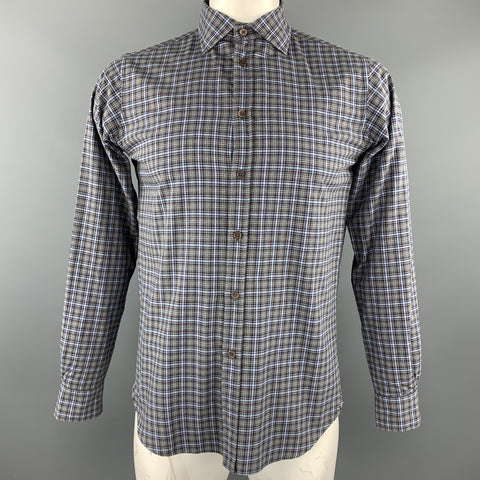 KOIKE Size L Blue & Grey Plaid Cotton Button Up Long Sleeve Shirt