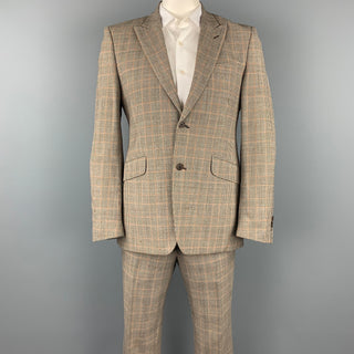 PENNESI 40 Regular Brown Glenplaid Wool Blend Peak Lapel Suit