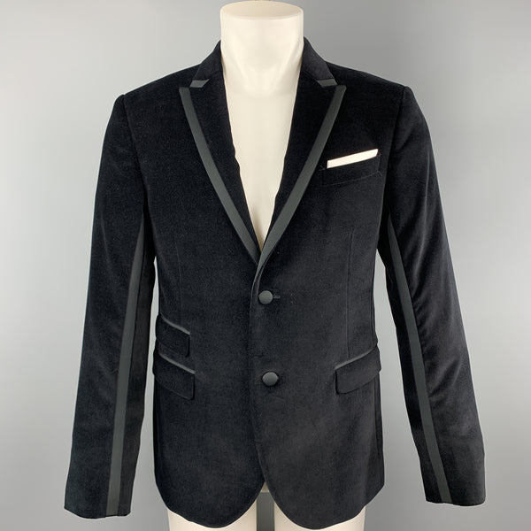 NEIL BARRETT Size 38 Black Solid Velvet Peak Lapel Sport Coat