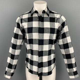 EN NOIR Size XS Black & White Buffalo Plaid Cotton Long Sleeve Shirt