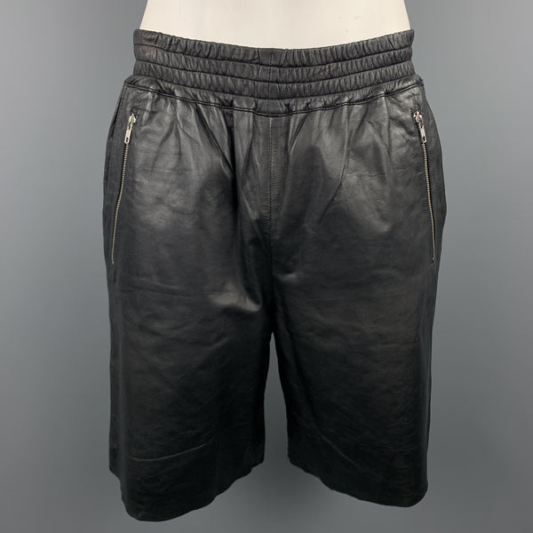 OAK Size L Black Leather Zip Pocket Elastic Waist Boxer Shorts