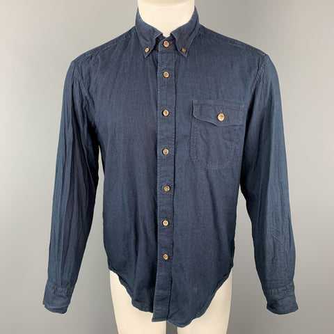 45rpm Size M Indigo Wash Dyed Cotton Button Down Long Sleeve Shirt