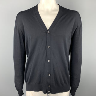 PRADA Size XL Black Solid Lana Wool Cardigan