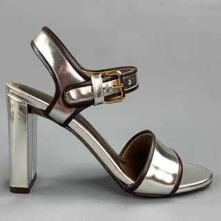 MARNI Size 6 Silver Metallic Leather Slingback Sandals