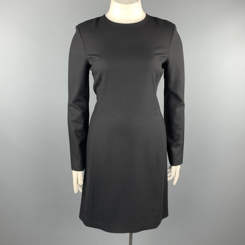 THE ROW Size 12 Black Wool Blend Crepe Long Sleeve  Shift Dress