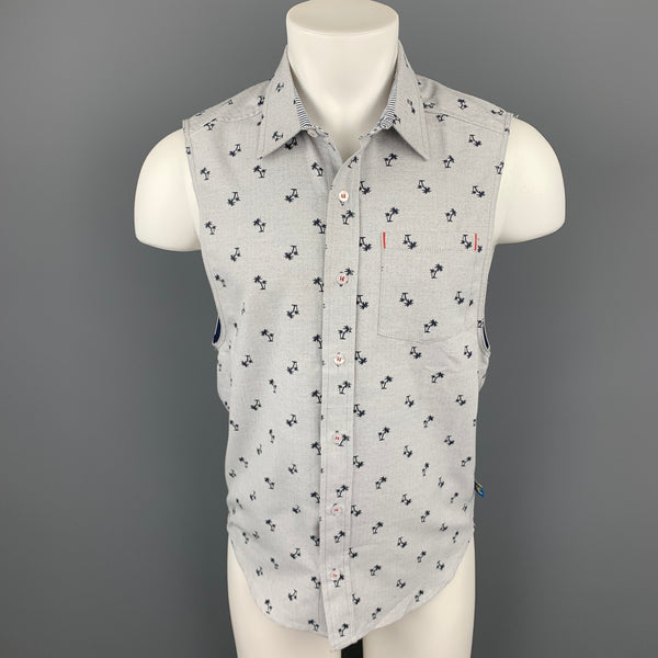 ANDREW CHRISTIAN Size S Light Grey Print Cotton Patch Pocket Sleeveless Shirt