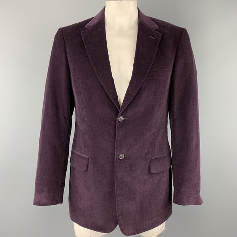 VALENTINO Size 40 Purple Textured Corduroy Notch Lapel Sport Coat