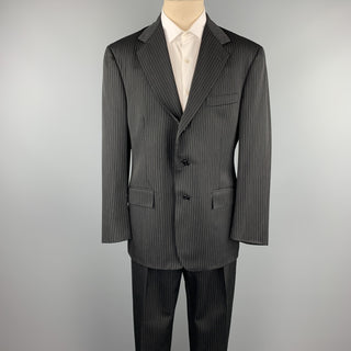 RALPH LAUREN Size 40 Regular Black Stripe Wool Notch Lapel Suit