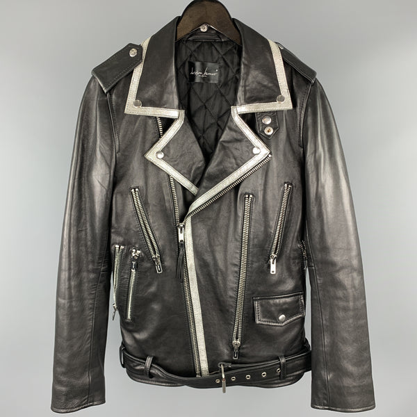 CHRISTIAN BENNER Size XS Black & Silver Solid Leather Biker Jacket