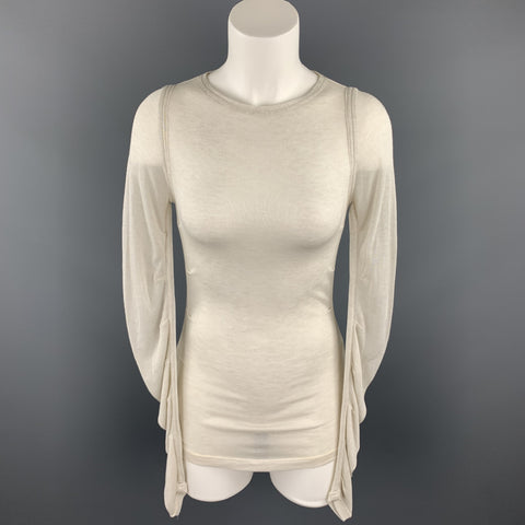 DOLCE & GABBANA Size 4 Off White Knitted Ruched Sleeves Pullover