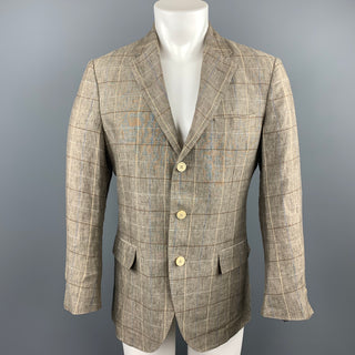 LORO PIANA Size 38 Taupe Window Pane Linen Notch Lapel Sport Coat