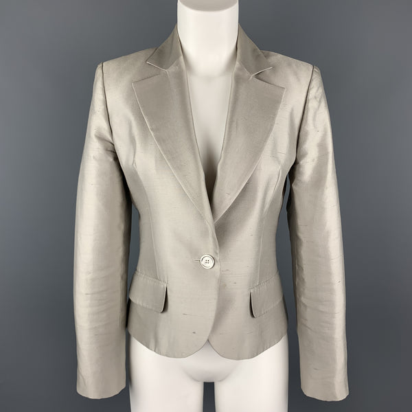 GIVENCHY Size 6 Silver Silk Shangtung Copped Blazer Jacket