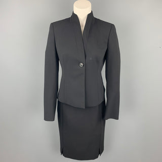 AKRIS Size 6 Black Wool / Nylon Pencil Skirt Suit