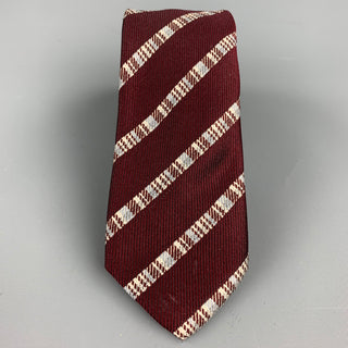 DRIES VAN NOTEN Burgundy Diagonal Stripe Silk Tie