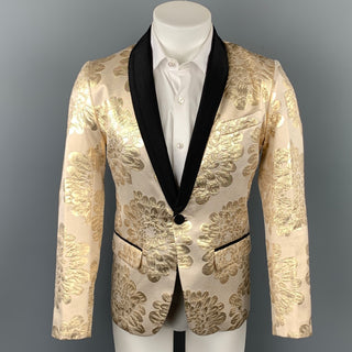 MR TURK Size 36 Beige & Gold Brocade Cotton Blend Shawl Collar Sport Coat