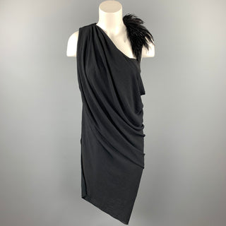 HELMUT LANG Size 6 Black Feather Polyester Draped Shoulder Dress