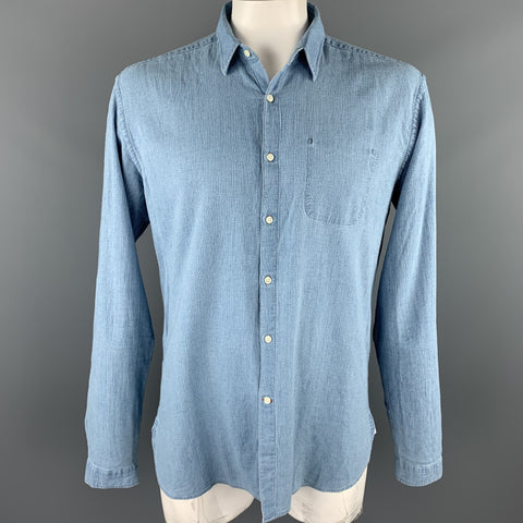 OLIVER SPENCER Size XL Light Blue Cotton Button Up Long Sleeve Shirt