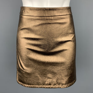REBECCA MINKOFF Size 6 Gold Leather Mini Skirt