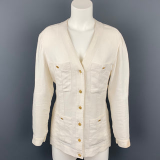 Vintage CHANEL Size 4 Cream Linen V-Neck Patch Pocket Jacket