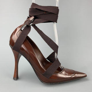 GUCCI by TOM FORD Size 6.5 Brown Leather Ribbon Strap Pumps