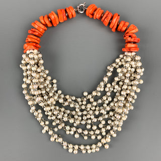 VINTAGE Orange Coral Faux Pearl Layered Necklace