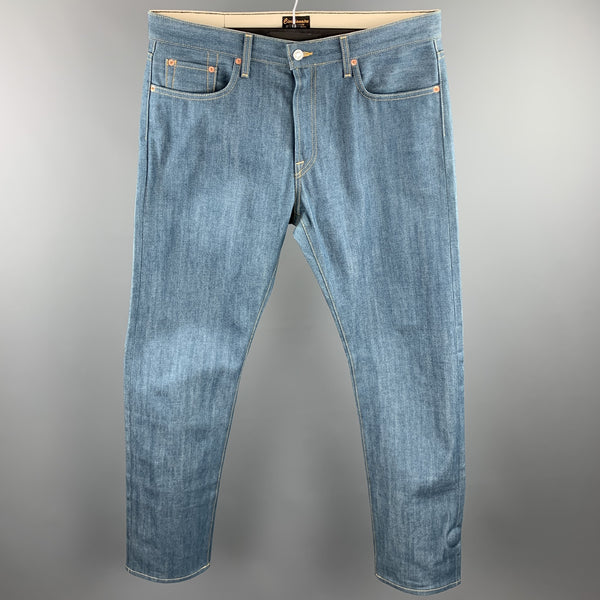 CIVILIANAIRE Size 34 Blue Contrast Stitch Selvedge Denim Zip Fly Jeans