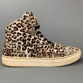 CREATIVE RECREATION Size 9 Off White & Brown Leopard Print Leather Sneakers