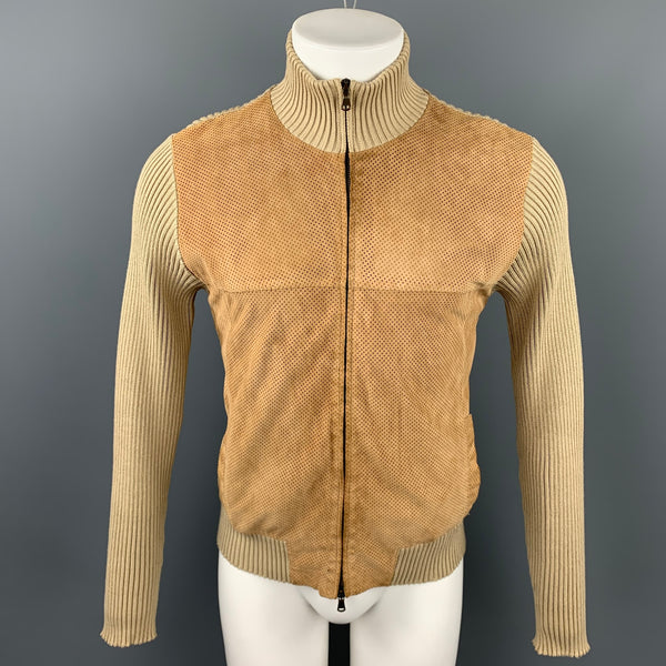 KOAN  Size S Tan Perforated Suede Trim High Collar Jacket