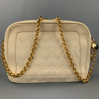 ESCADA Cream Quilted Suede Cross Body Handbag