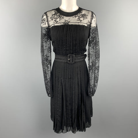 PRADA Size 10 Black Pleated Silk Lace Top Long Sleeve Cocktail Dress