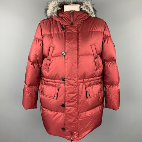 MICHAEL KORS Size XXL Burgundy Quilted Nylon Down Filled Coat