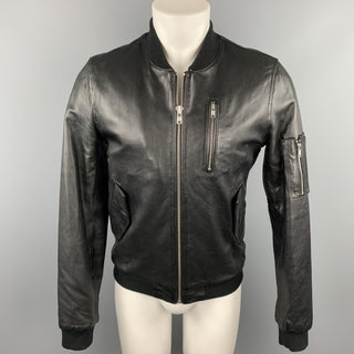 BLK DNM Size S Black Leather Zip Up Bomber Jacket