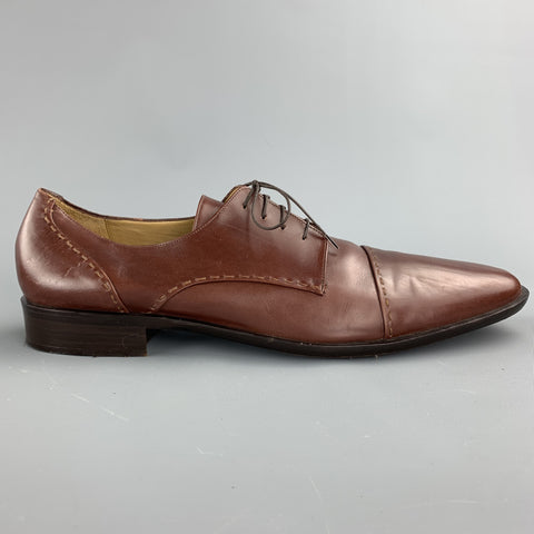 COLE HAAN Size 10.5 Brown Stitched Leather Cap Toe Lace Up Shoes
