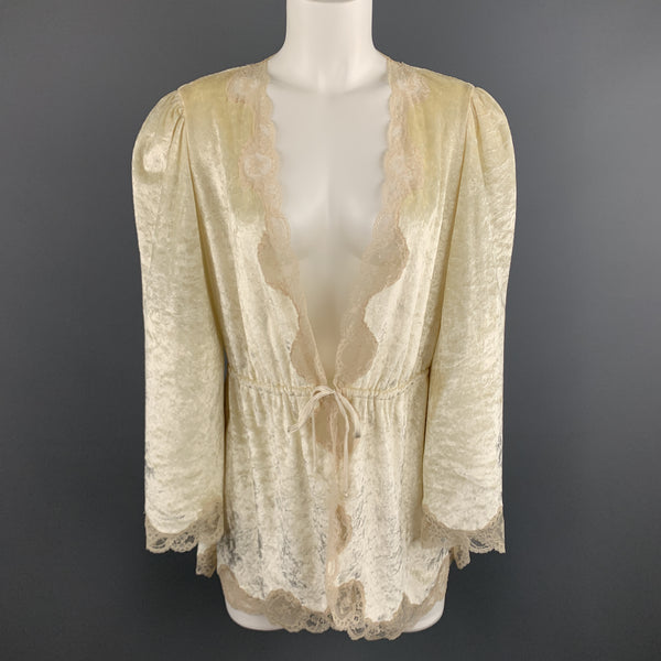 CHRISTIAN DIOR Size M Cream Crushed Velvet Lce Trim Cropped Robe Top