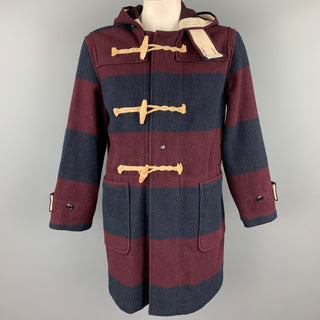 WOOLRICH Size M Burgundy & Navy Stripe Wool / Nylon Hooded Coat