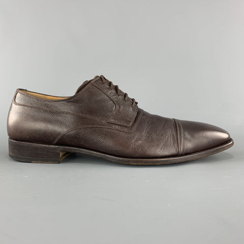 GUCCI Size 12 Brown Textured Leather Cap Lace Up Dress Shoes