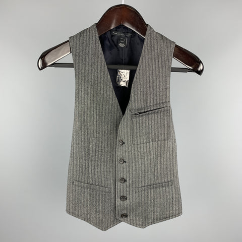 MARC by MARC JACOBS Size S Gray Stripe Wool Buttoned Vest