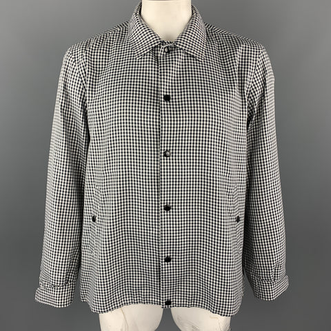 RAG & BONE Size XL Black & White Checkered Polyester Snaps Jacket