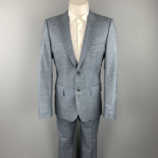 CALVIN KLEIN COLLECTION Size 38 Blue Heather Wool Notch Lapel Suit