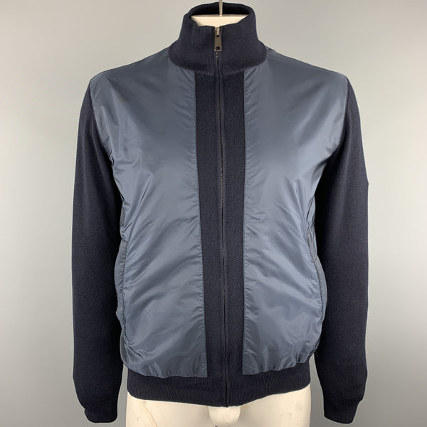 PRADA Size 42 Navy Nylon &  Wool Zip Up High Collar Jacket