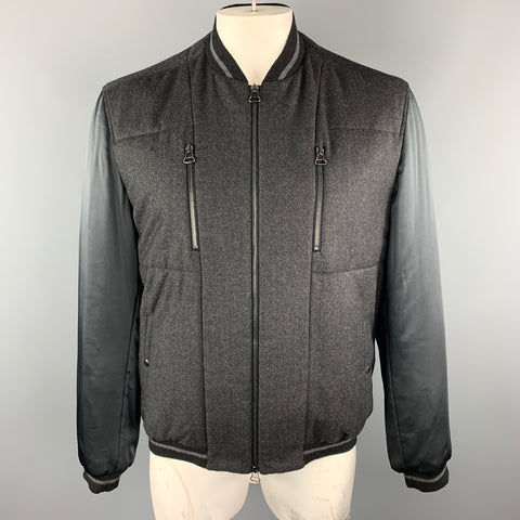 LANVIN Size 46 Charcoal Wool / Cashmere Contrast Sleeves Zip Up Jacket