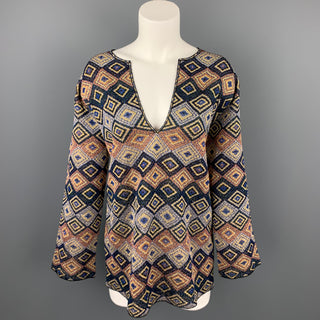 DRIES VAN NOTEN Size S Multi-Color Jacquard Geometric Polyester Blend Blouse