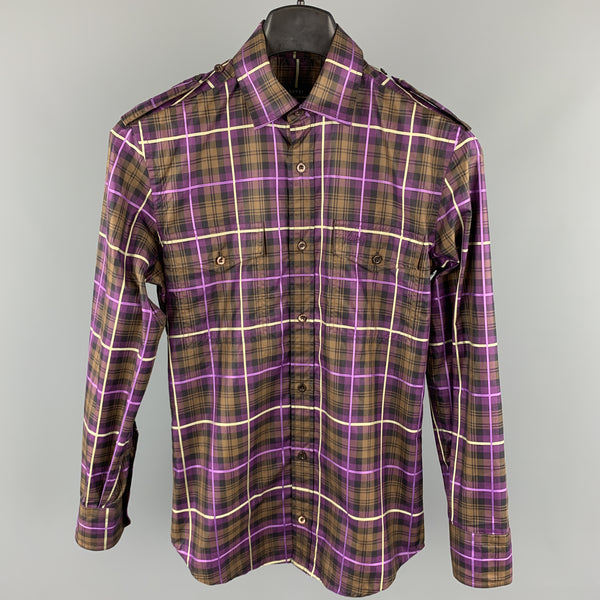 GUCCI Size XS Brown & Purple Plaid Cotton Button Up Patch Pockets Epaulettes Long Sleeve Shirt