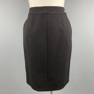 CHANEL Size L Black Sparkle Wool Pencil Skirt
