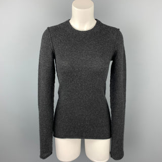 INHABIT Size M Charcoal Knitted Cashmere Blend Crew-Neck Sweater